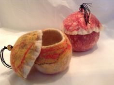 Bowls /vessels with lids -wet felted Demaliacreations@gmail.com