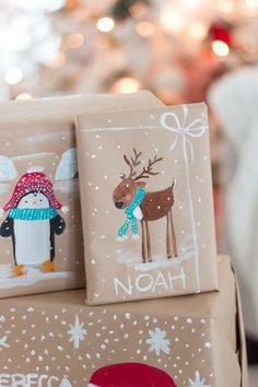 Get in the holiday spirit! As you're buying gifts, add a personal touch with Unique 50 Christmas gift wrapping ideas! Upcycled Kraft Paper Gift Wrapping Ideas From: The Found and The Fancy How to P… Unique Christmas Gifts, Noel Christmas, Christmas Gift Wrapping, Winter Christmas, Christmas Presents, Holiday Gifts, Christmas Crafts, Christmas Decorations, Beautiful Christmas