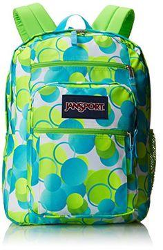 "JanSport Big Student Backpack - Zap Green Bubble Gum Pop / 17.5""H x 13""W x 10""D I WANT THIS SOOO BAD FOR SCHOOL!!!"