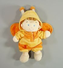 Doudou garçon abeille velours jaune et orange Nicotoy garçon security blanket