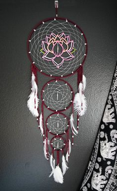 Layered Lotus Flower Dream Catcher by Aurvgon on Etsy Dream Catchers For Sale, Dream Catcher Decor, Beautiful Dream Catchers, Large Dream Catcher, Dream Catcher Boho, Dream Catcher Mandala, Dreamcatcher Design, Crochet Dreamcatcher, Dreamcatchers