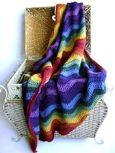 A personal favorite from my Etsy shop https://www.etsy.com/listing/91079068/crochet-pattern-for-rainbow-ripple-baby