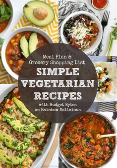 Simple Vegetarian Recipes Meal Plan with Budget Bytes on Rainbow Delicious. Comes with free grocery shopping list. Southwest spaghetti squash bowl, sweet potato tortilla soup, sweet potato and black bean tacos, weeknight enchiladas and quinoa veggie soup. I'm excited about these healthy dinner ideas!