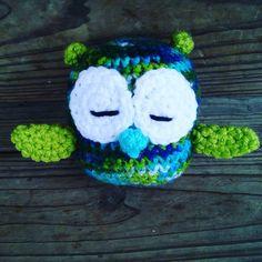 #owl #crochet #handmade #etsy #yarn #birds #green