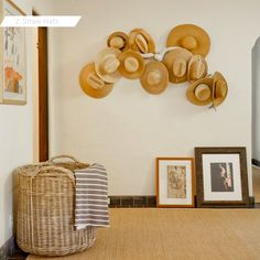Straw Hats as Wall Decor Driftwood