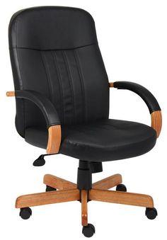 Boss Office Products B8376-K Boss Leatherplus Exec. Chair W/ Oak Finish
