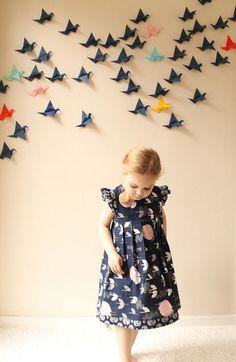 geranium dress in tsuru crane fabric // made by rae