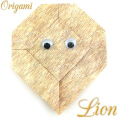 page Instructions to learn how to make an easy origami lion. Origami Lion, Easy Origami, Origami Models, Decorative Boxes, Learning, How To Make, Ideas, Bag, Paper Envelopes