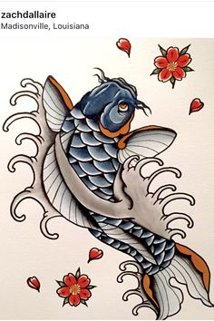 Blue Koi Tattoo - Learning what it takes to get a tattoo apprenticeship, how to draw and paint tattoo flash tutorials, and sharing pictures of good tattoos, and artists. Japanese Koi Fish Tattoo, Koi Fish Drawing, Japanese Sleeve Tattoos, Tattoo Japanese Style, Japanese Tattoos For Men, Pez Koi Tattoo, Coy Fish Tattoos, Flash Tattoo, Tattoo Flash Sheet