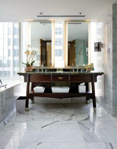Marble his and her bathroom sinks at the Shangri-La Toronto. #luxetravel #toronto