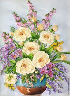 Вышивка лентами Букет с жёлтыми розами #flowers #embroidery