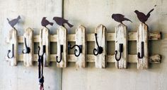 Handmade Reclaimed Wood Birds on Picket Fence Wall Hooks Shabby Chic Style Decor