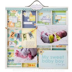 Baby Boy Shadow Box using Carta Bella Baby Mine Collection