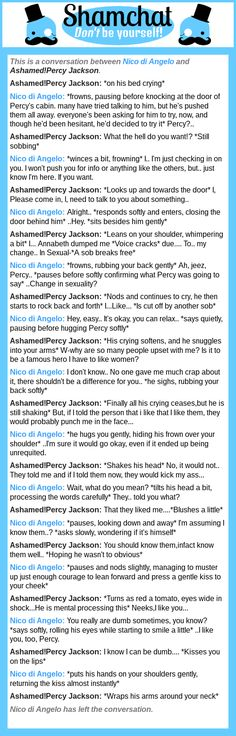 A conversation between Ashamed!Percy Jackson and Nico di Angelo