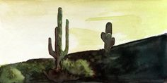 Watercolor painting of Saguaros in Arizona desert