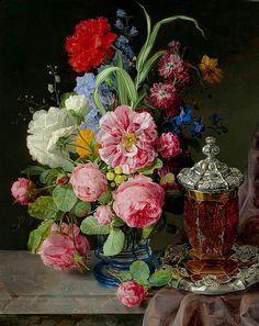 Andreas Lach (1817 -1882) Blumenstilleben in Blauem Uberfangglas 1843