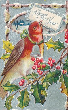 Bird with a silver bell - Happy New Year!
