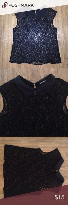 Express shirt Black lace with collar excellent condtion Express Tops Blouses