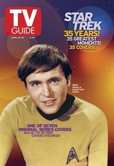 "TV Guide April 2002 ~ Walter Koenig as Ensign Pavel Chekov of ""Star Trek"" of 7 covers) Star Trek Voyager, Star Trek Cast, Star Trek Enterprise, Star Trek Original Series, Star Trek Series, Tv Series, Star Trek 1966, Star Trek Characters, Star Trek Universe"