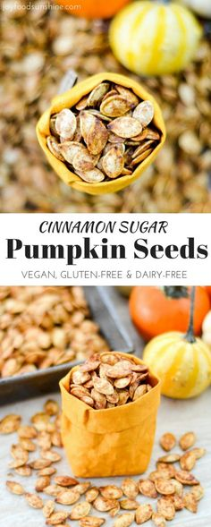 Homemade Cinnamon Sugar Pumpkin Seeds! A recipe for the perfect sweet and salty snack! Vegan, gluten-free and dairy-free!