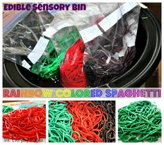 {Think Outside the Toy Box} Edible Sensory Bin, rainbow colored spaghetti and rice, play foods, kids play, toddler summer time activities, sensory and messy play outside, dying food, edible play