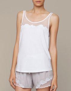 Tulle top with shell detail - oysho