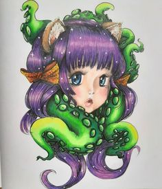 Manga Coloring Book, Adult Coloring, Coloring Books, Colouring, Manga Mermaid, Faber Castell Polychromos, Viera, Sea Creatures, Color Inspiration