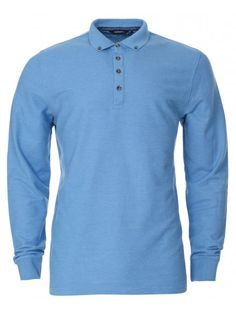 11ac763bbe9b Twisted Soul Mens Blue Long Sleeve Polo Shirt Button Down Collar