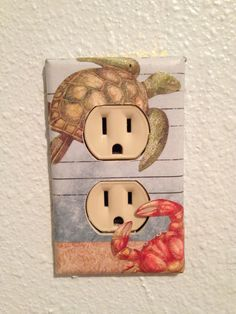 Electrical Outlet Covered with scrapbooking paper and several layers of modgepodge Electrical Outlet Covers, Electrical Outlets, Scrapbook Paper, Scrapbooking, Camping Life, Diy Home Decor, Clever, Layers, Diy Crafts