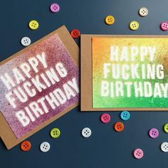 These spattered creations can say whatever you want them to say with my create your own option. Perfect for any occasion, no swears necessary! Cubs, Handmade Cards, Halloween Decorations, Create Your Own, It Works, At Least, Happy Birthday, It Is Finished, Embroidery