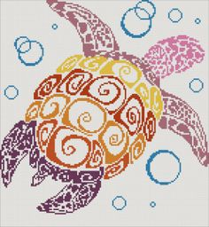 Turtle - modern counted cross stitch kit