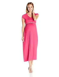 Three Seasons Maternity Womens Maternity Ss Surplice Solid Maxi Dress