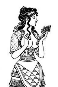Greek Minoan woman -- lots of colors and padded apron in center.