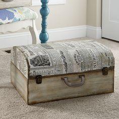 Found it at Wayfair - Newspaper Suitcase Trunk Ikea Furniture, White Furniture, Repurposed Furniture, Shabby Chic Furniture, Cool Furniture, Painted Furniture, Bedroom Furniture, Furniture Ideas, Painted Suitcase