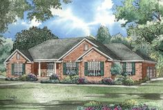 Spacious 3 bedroom home with covered porch and 3 car garage.  Traditional House Plan # 151050.