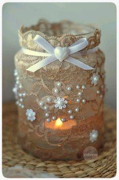 Christmas Crafts With Mason Jars Decor Mason Jar Projects, Mason Jar Crafts, Lace Mason Jars, Diy Projects, Wine Bottle Crafts, Bottle Art, Pot Mason Diy, Crafts To Make, Diy Crafts