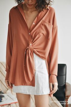 the color of the shirt looks good with your skin tone and you can wear it with the jeans and white sneakers for day outfit and you can wear it with leather skirt and ysl heels for night look Hijab Fashion, Diy Fashion, Ideias Fashion, Fashion Outfits, Womens Fashion, Fashion Design, Merian, Blouse Designs, Blouse Styles