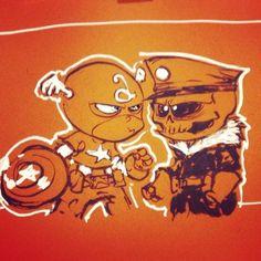 Baby Cap and Red Skull #heroescon2014