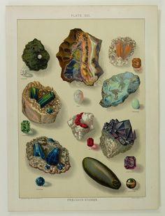 Precious Stones Gems Antique 1904 Color Chromolithograph Print