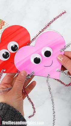 "Heart Buddies Valentine's Day Craft Looking for an easy Valentine's Day craft for kids? Colorful and fun ""Heart Buddies,"" made from our free heart pattern and basic craft supplies, are perfect for home or school. A great craft for Valentine's Day parties! Valentine's Day Crafts For Kids, Valentine Crafts For Kids, Valentines Day Activities, Toddler Crafts, Preschool Crafts, Holiday Crafts, Kids Diy, Easter Crafts, Diy Valentine"