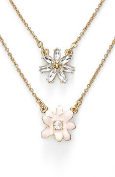 'glossy petals' double pendant necklace. In Stock, Color: Shell Multi, Price: $38.98. #pendantnecklaces