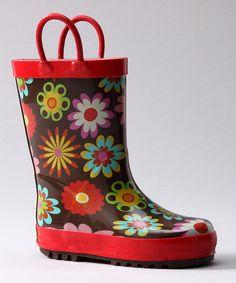 Red Flower Garden Rain Boot  by Western Chief Kids