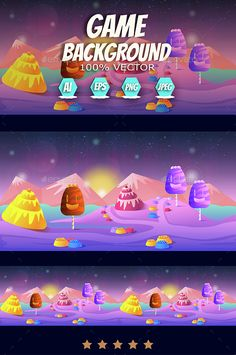 Candyland Game Landscape by VitaliyVill Game Asset Candyland Game Background. You can use this background for your game application/project. The Game background is made w Game Background, Cartoon Background, Candyland Games, Free Game Assets, Landscape Background, Design Quotes, Candy Colors, Free Games, Game Design