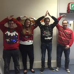These guys are lighting up the IT department today with their festive knitwear. Here they are spelling out XMAS Christmas Jumpers, Christmas Sweaters, Spelling, Knitwear, Festive, Xmas, Lighting, Fashion, Moda
