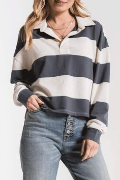 Z Supply Rugby Stripe Shirt Layering Outfits, Funky Outfits, Fresh Outfits, Winter Outfits, Fashion Outfits, Collar Shirts, Shirt Blouses, Collared Shirt Outfits, Womens Rugby