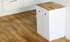 Källsorteringsmöbel, svensktillverkad snygg och praktisk möbel för återvinning.