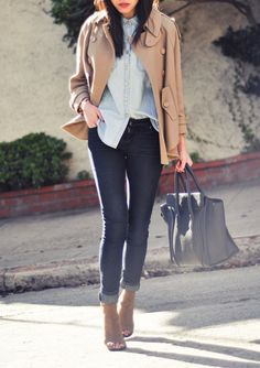 Double denim, camel coat, heels and bag.