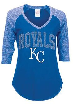 Kansas City (KC) Royals womens royal rhinestone 3/4 sleeve shirt http://www.rallyhouse.com/shop/kansas-city-royals-5th-and-ocean-88881079 $34.99