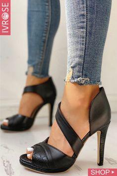8801c8ec4a3 Peep Toe Cut Out Thin Heels Pumps Heels