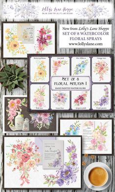 Pretty floral sprays in hand painted watercolors; yellow, pink, pastel, purple and blue shades Sprays, Vintage Pink, Floral Watercolor, Pink Roses, Gallery Wall, Bloom, Pastel, Clip Art, Hand Painted